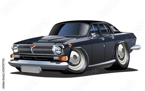Staande foto Cartoon cars Vector Cartoon retro car