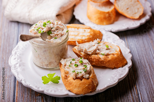 Slices of fried bread with fish pate