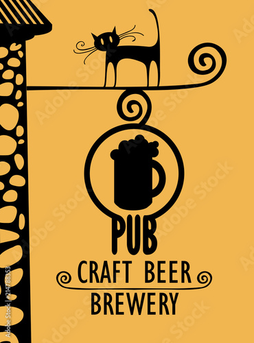 Fényképezés  Vector banner for beer pub with a street sign, a black cat and with words Craft