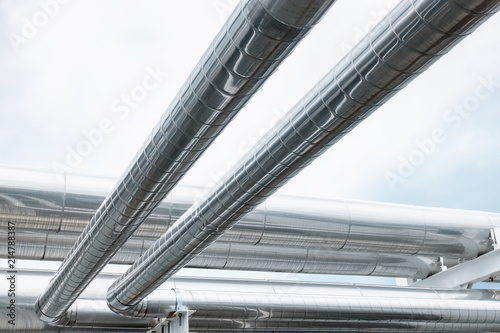 Fotografie, Obraz Chiller pipeline and joint connection on pipe rack support