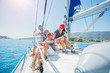 canvas print picture - Family with adorable kids resting on yacht