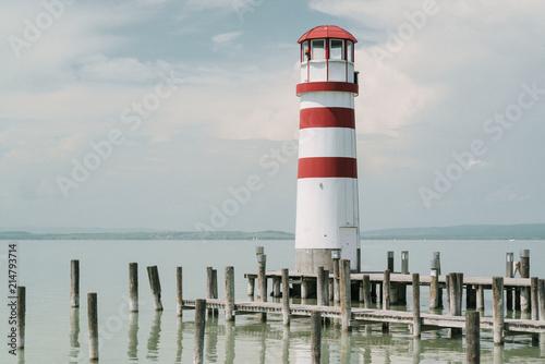 Foto op Aluminium Vuurtoren Lighthouse in Podersdorf am See, lake Neusiedler See, Burgenland, Austria