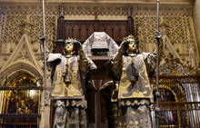 Tomb Of Christopher Columbus & The Interior And Altar Of Seville Cathedral, Spain