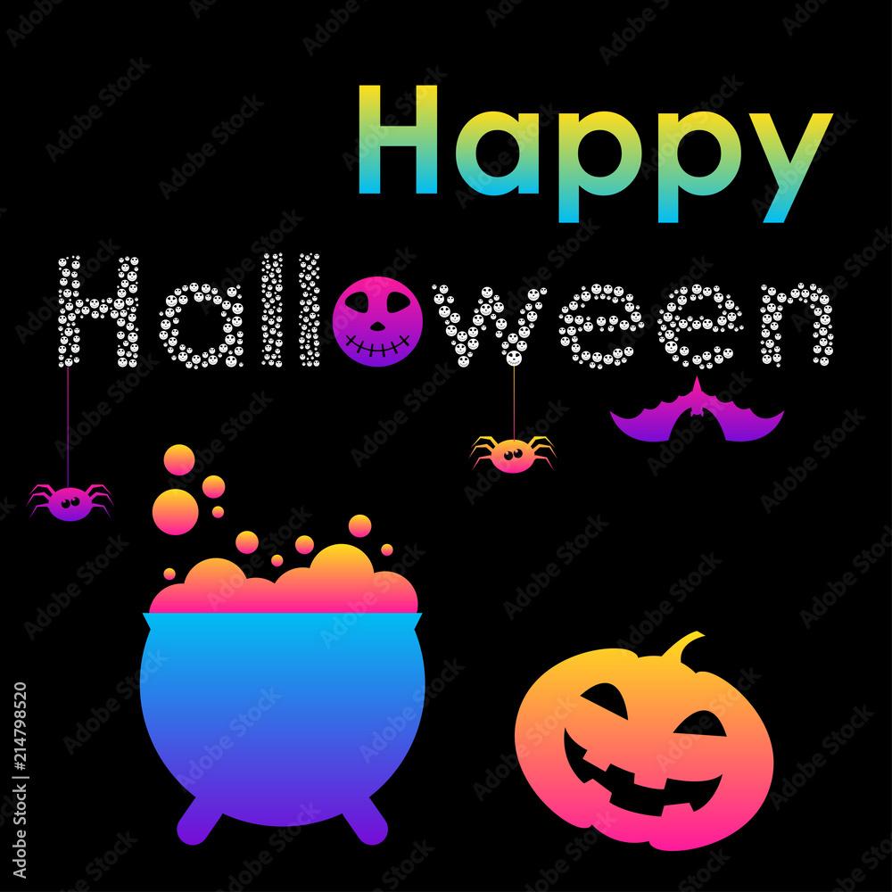 Obrazy Na Płótnie Abstract Rainbow Happy Halloween Card