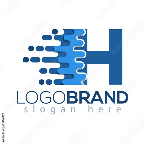 Enement Letter | H Letter Pixel Icon Vector Logo Element Letter Speed Logo Template