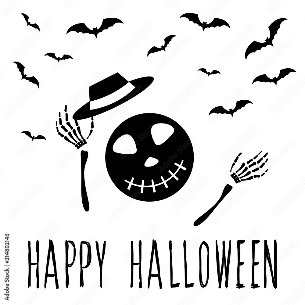 Obraz Abstract Monochrome Happy Halloween Card Background