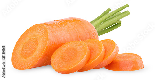 Photo  Fresh clean carrots with stems, ring slice
