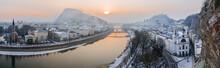 Salzburg Stadt Panorama Salzach Festung Winter -10C