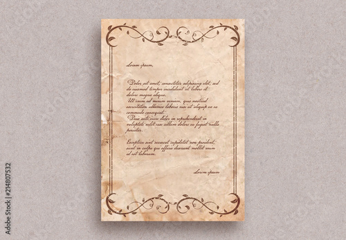 letter template vintage  Vintage Letter Layout with Border Ornaments. Kaufen Sie ...