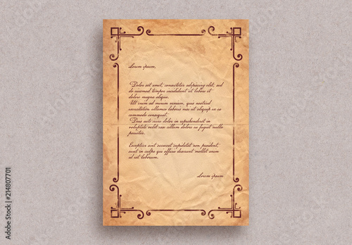 Vintage letter layout with border ornaments buy this stock template vintage letter layout with border ornaments maxwellsz