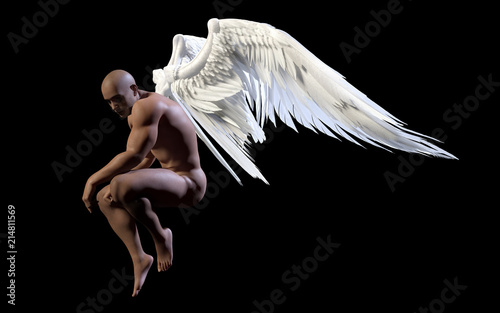 3d Illustration Angel Wings, White Wing Plumage Isolated on Black Background with Clipping Path.