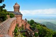 canvas print picture - Overlooking the medieval castle of Haut Koenigsbourg, Alsace, France