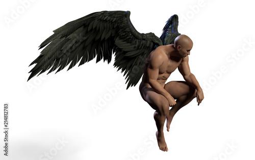 Naklejka premium 3d Illustration Demon Wings, upierzenie czarne skrzydło na białym tle na białym tle ze ścieżką przycinającą.