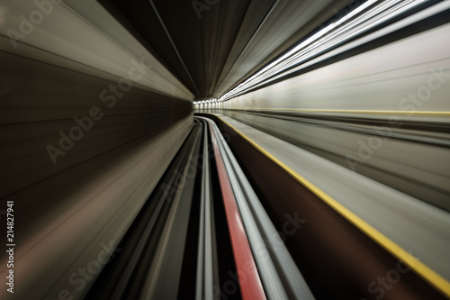 Fotografie, Obraz  Long exposure of a ride through a subway tunnel