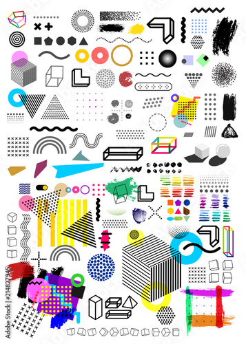 Big Set Of Universal Trend Halftone Geometric Shapes Juxtaposed