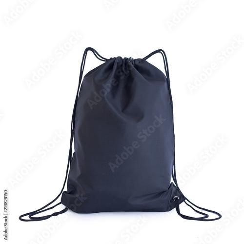 Fototapeta Black drawstring pack template, bag for sport shoes isolated on white obraz