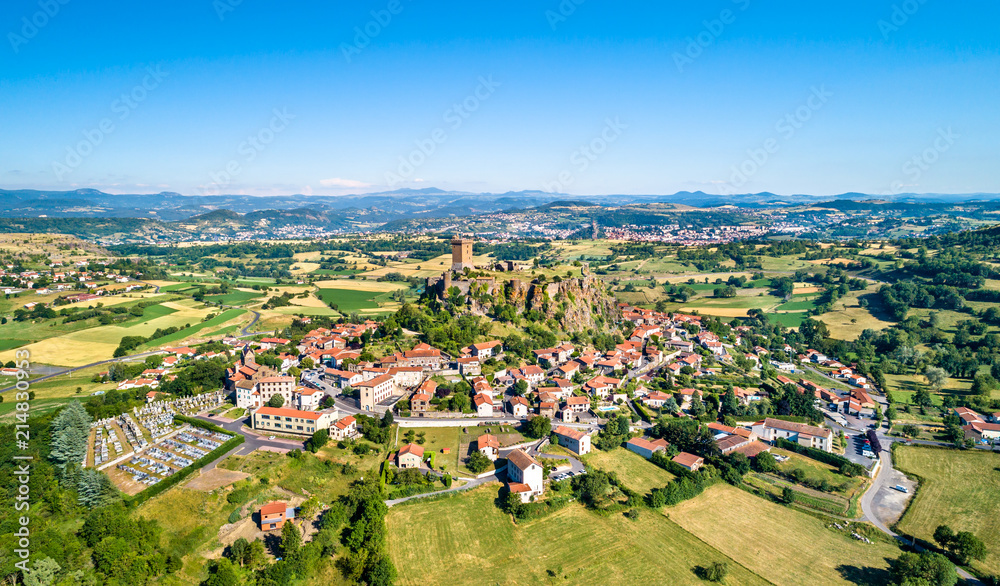 Fototapeta View of Polignac village with its fortress. Auvergne, France