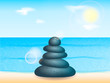 Pebblestone pyramid on a sea beach. Vector illustration