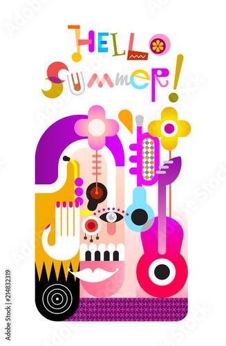 Staande foto Abstractie Art Hello Summer vector illustration
