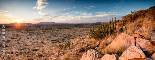 Slika na platnu Panoramic landscape photo views over the kalahari region in South Africa