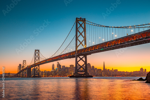 San Francisco skyline with Bay Bridge at sunset, California, USA