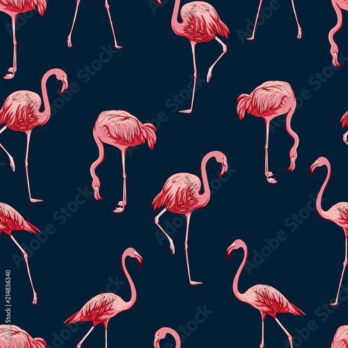 Canvas Prints Flamingo Bird Seamless flamingos pattern, vector