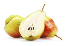 Ripe Pear Fruits Isolated On White Background