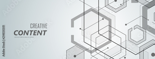 Fotografiet Abstract geometric background with gexagon shapes