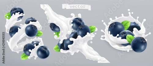 Foto Blueberry and milk splash, yogurt. 3d realistic vector icon