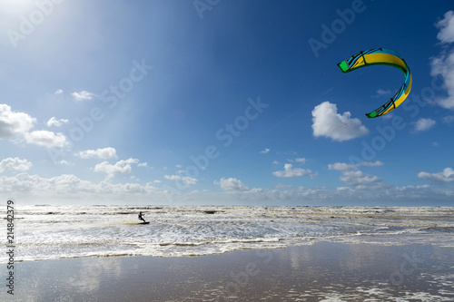 kiteboarder at the Dutch North Sea coast