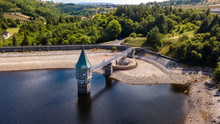 Aerial Drone View Of Low Water Levels In Pontsticill Reservoir, Brecon Beacons During A Summer Heatwave