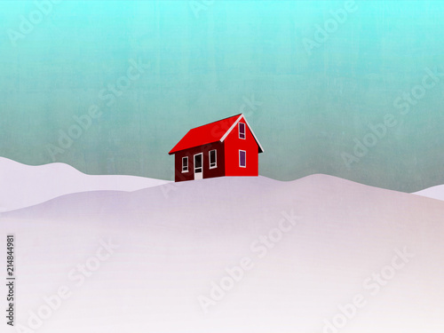 Fotobehang Lichtblauw house in winter landscape illustration - red house on hill