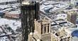 Atlanta Aerial v404 Panning around downtown, detail snow view of Westin 1/18