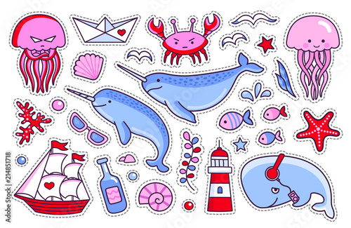 Photo  Jellyfish, crab, whale, starfish, fish, narwhal and lighthouse, ship and seagull