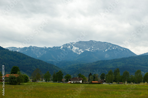 Fotobehang Alpen landscape in the Alps with fresh green meadows and snow-capped mountain peaks in the background, Bavaria, Germany