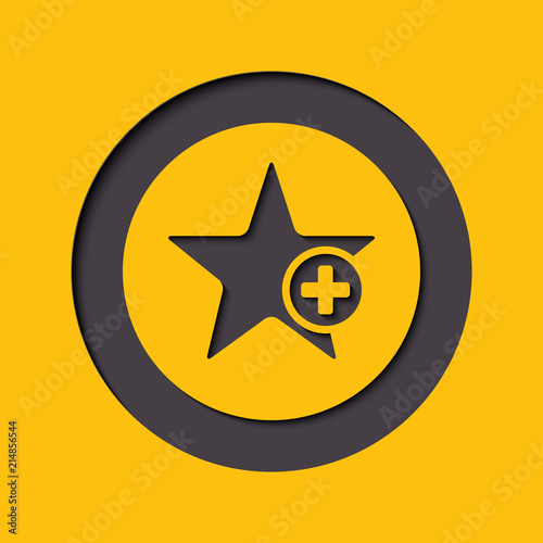 Photo Star favorite sign web icon with plus glyph
