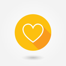 Heart Icon. Flat Design. Illustration. Flat Design Style With Long Shadow