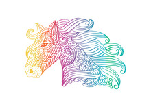 Line Art Hand Drawing Head Of Horse.