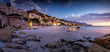 canvas print picture - Wide angle landscape image over the multimillion dollar penthouse mansions that's built along the Clifton coast in Cape Town South Africa