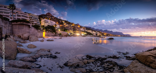Wide angle landscape image over the multimillion dollar penthouse mansions that's built along the Clifton coast in Cape Town South Africa
