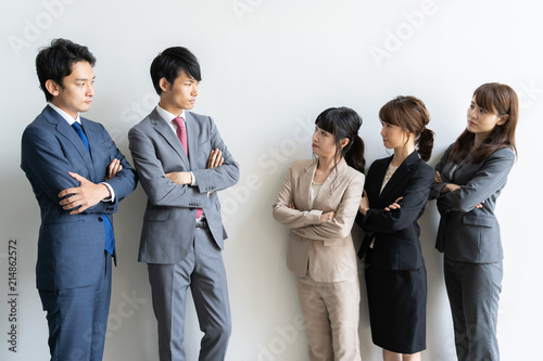 portrait of asian business group on white background Tablou Canvas