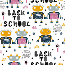 Seamless Pattern With Robots. Kid, Childish And Nursery Illustration For Textile,fabric,background.