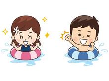 浮き輪で水遊びする子供