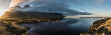 Stokksnes Sunset Panoramic With Water