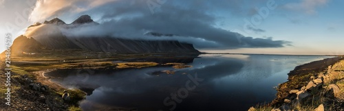 Photo  Stokksnes Sunset Panoramic with Water