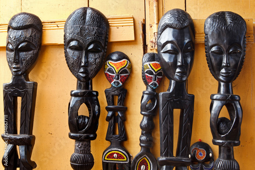 Photo West African Wood Carvings for Sale at an Outdoor Market in Accra Ghana