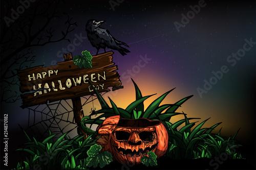 Halloween dark night background with pumpkin. Vector illustration. © Adchariya