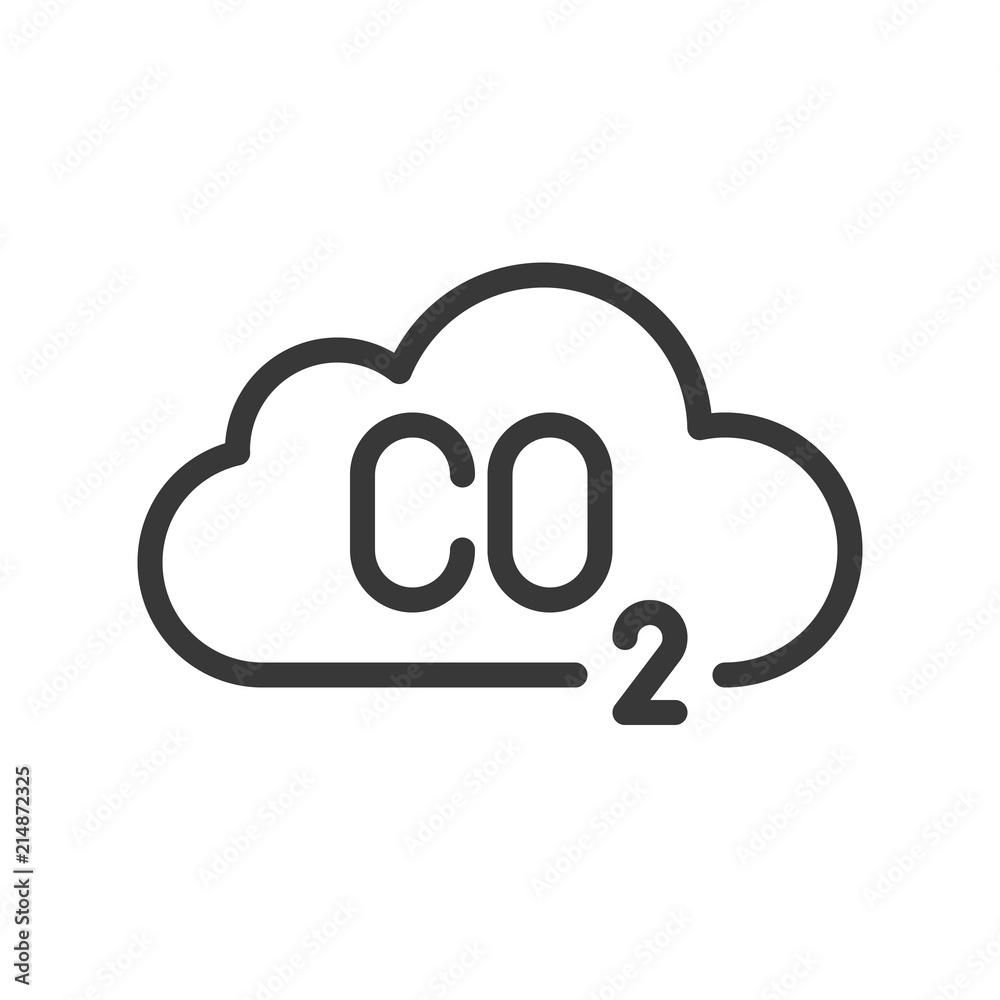 Fototapeta Carbon monoxide on cloud, pollution   icon