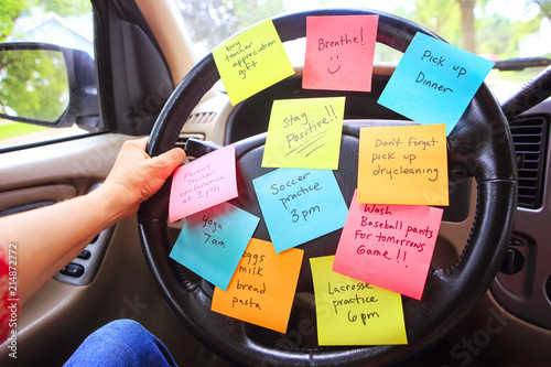 Fotografie, Obraz  Steering wheel covered in notes as a reminder of errands to do
