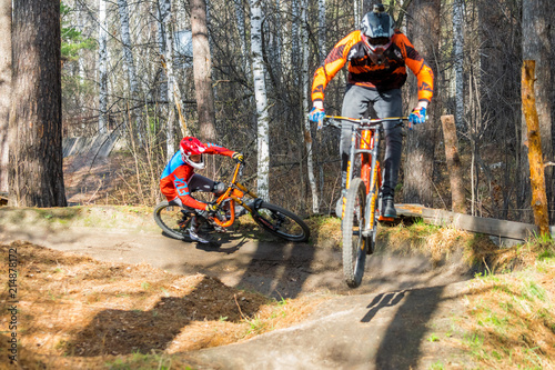 Photo Russia, Novosibirsk - May 1, 2018: Downhill mountain biking